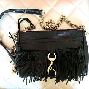 REAL Black Fringe Rebecca Minkoff MAC Crossbody